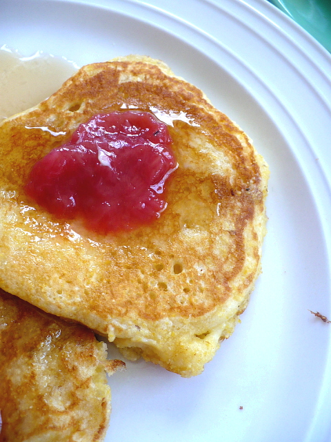 Cornmeal Buttermilk Pancakes With Rhubarb Compote