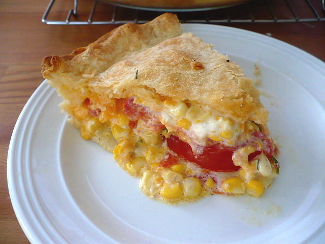 Corn, Tomato, and Cheddar Pie - Clockwork Lemon