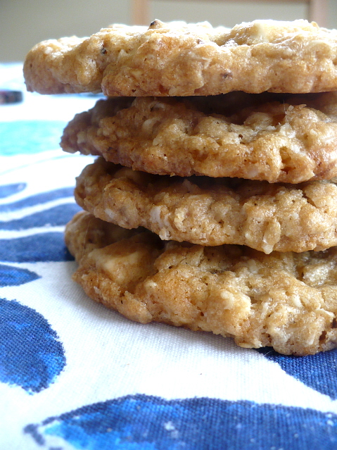 Crispy-Chewy Salted White Chocolate Oatmeal Cookies