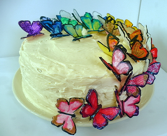 Kitchen Bliss Marias 1st Birthday Cake with Gum Paste Butterflies
