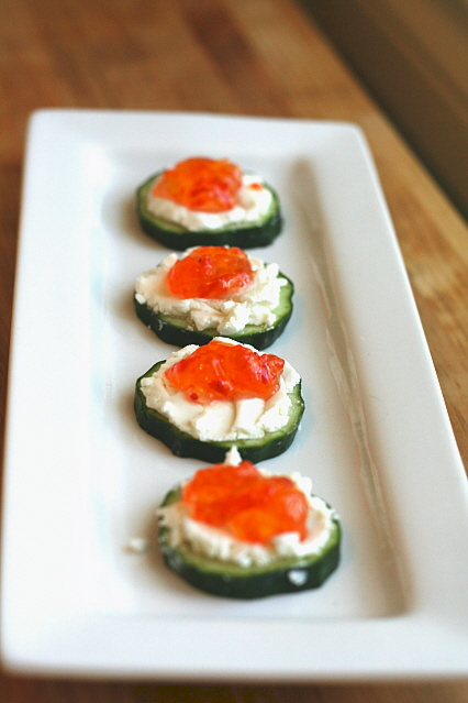 Cucumber Goat Cheese and Redpepper Jelly Appetizers
