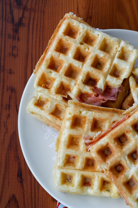 Ham and Swiss Yeasted Waffles-28